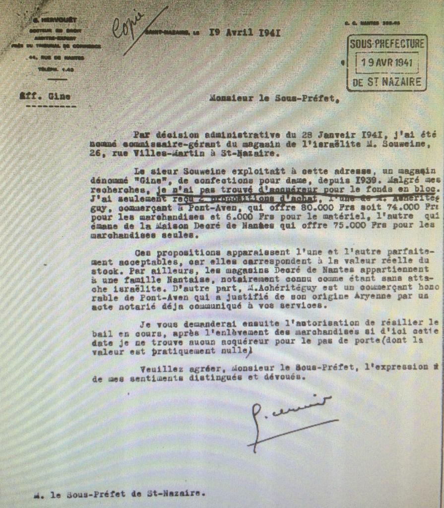 Dossier d'aryanisation du magasin GINE du Commissariat Général aux Questions Juives   [Archives Nationales, AJ38/4597 dossier n°2516]