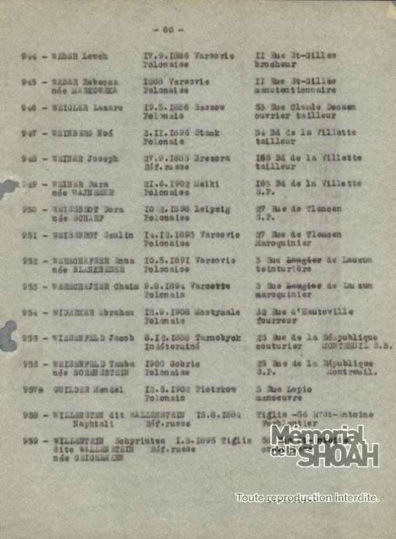 Liste convoi n°9 [CDJC, Mémorial de la Shoah, Paris]