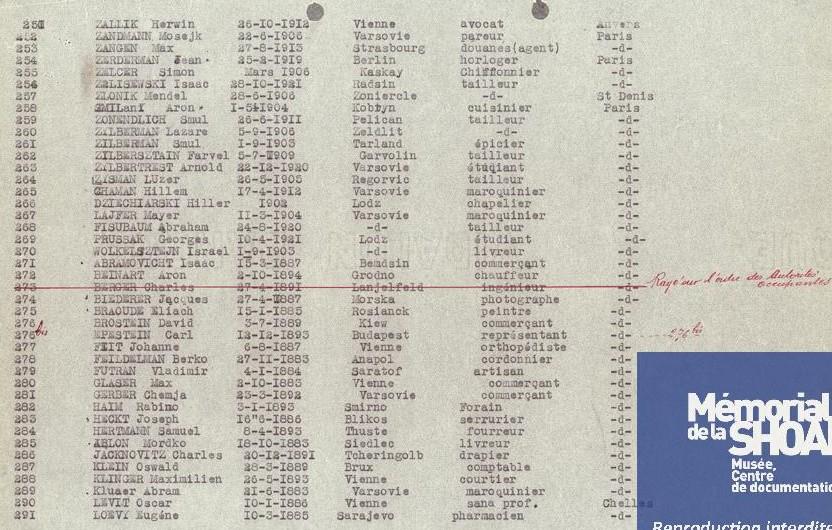 Liste convoi 6 [CDJC, Mémorial de la Shoah, en ligne]