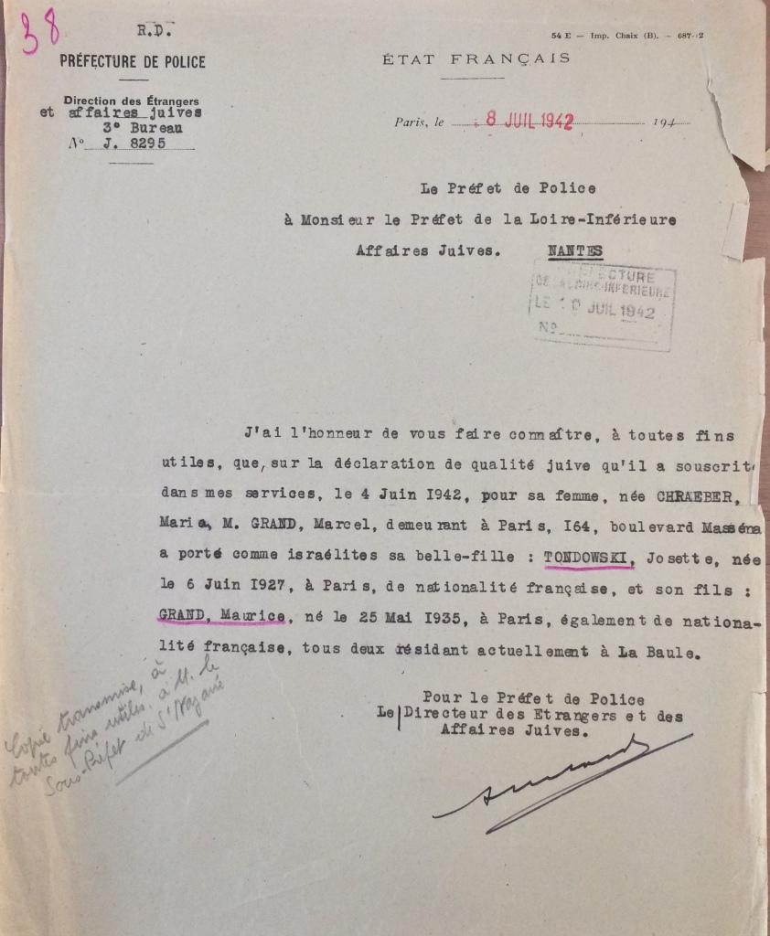 Contrôle statut des Juifs [ADLA 1694W21]