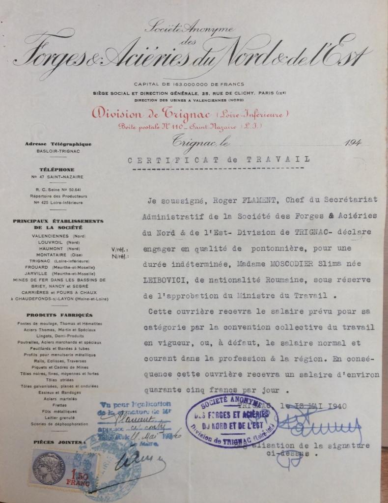 Certificat d'embauche de  Slima MOSCODIER [ADLA 4M934]