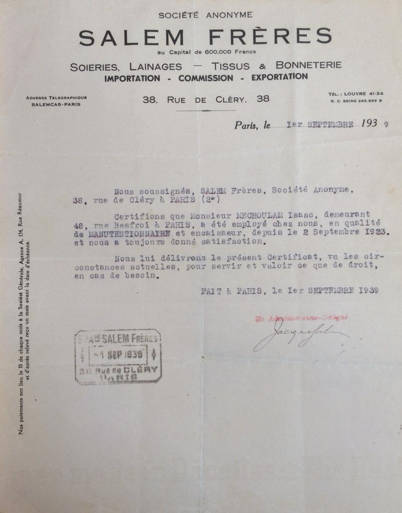 Dossier d'étranger d'Isaac MECHOULAM [ADLA 4M946]