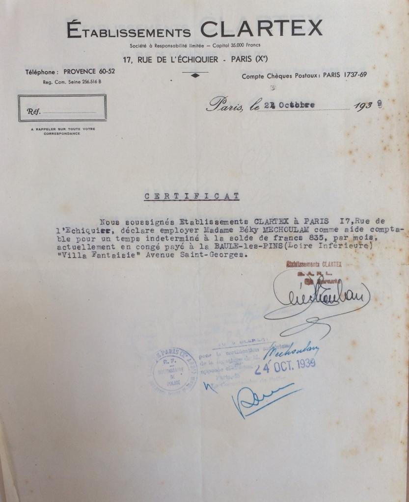 Dossier d'étranger de Beky MECHOULAM [ADLA 4M938]