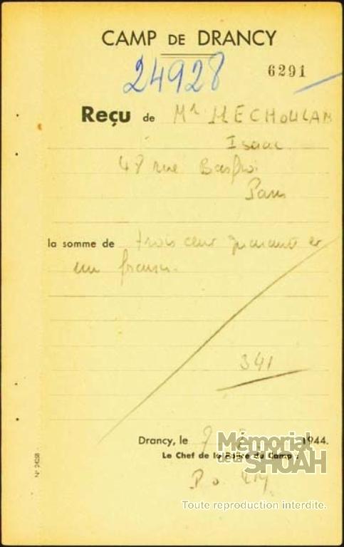 Carnet de fouilles d'Isaac MECHOULAM [CDJC, Mémorial de la Shoah, en ligne]