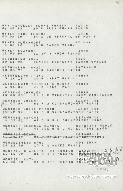 Liste convoi 77 [CDJC, Mémorial de la Shoah en ligne]