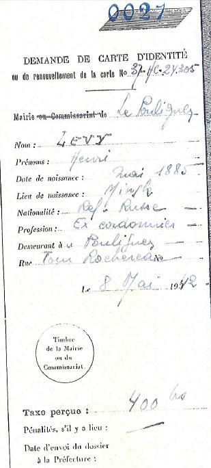 Carnet à souches des demandes de cartes d'identité [Archives Municipales du Pouliguen J7]