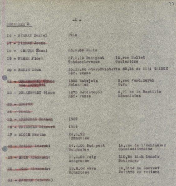 Liste convoi [CDJC, Mémorial de la Shoah, en ligne]