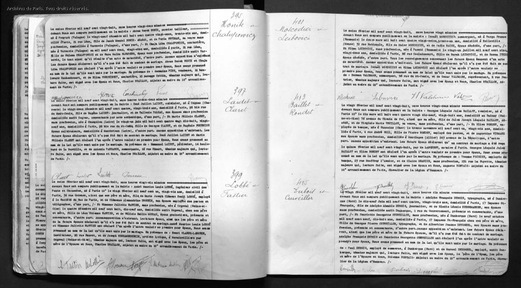 Acte de mariage MOSCODIER-LEIBOVICI [Archives de Paris, 18M557]