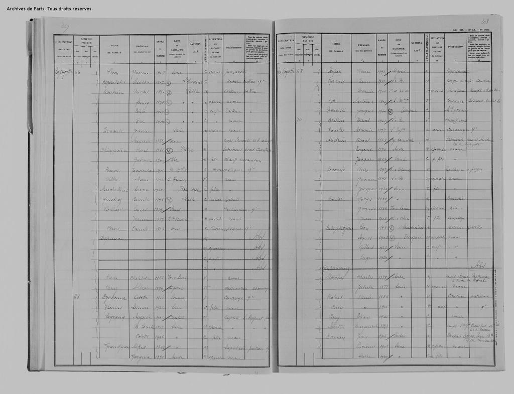 Recensement 1936 [Archives de Paris, 2M8/578]