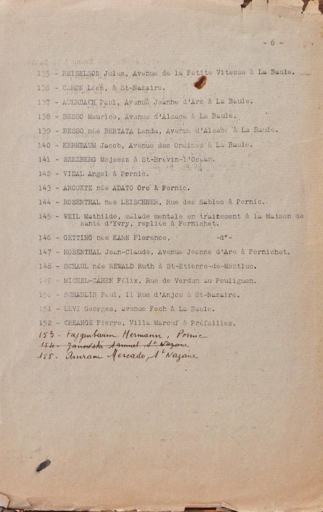Liste dactylographiée (simple) du recensement des Juifs de l'arrondissement de Saint-Nazaire [ADLA 1694W25]