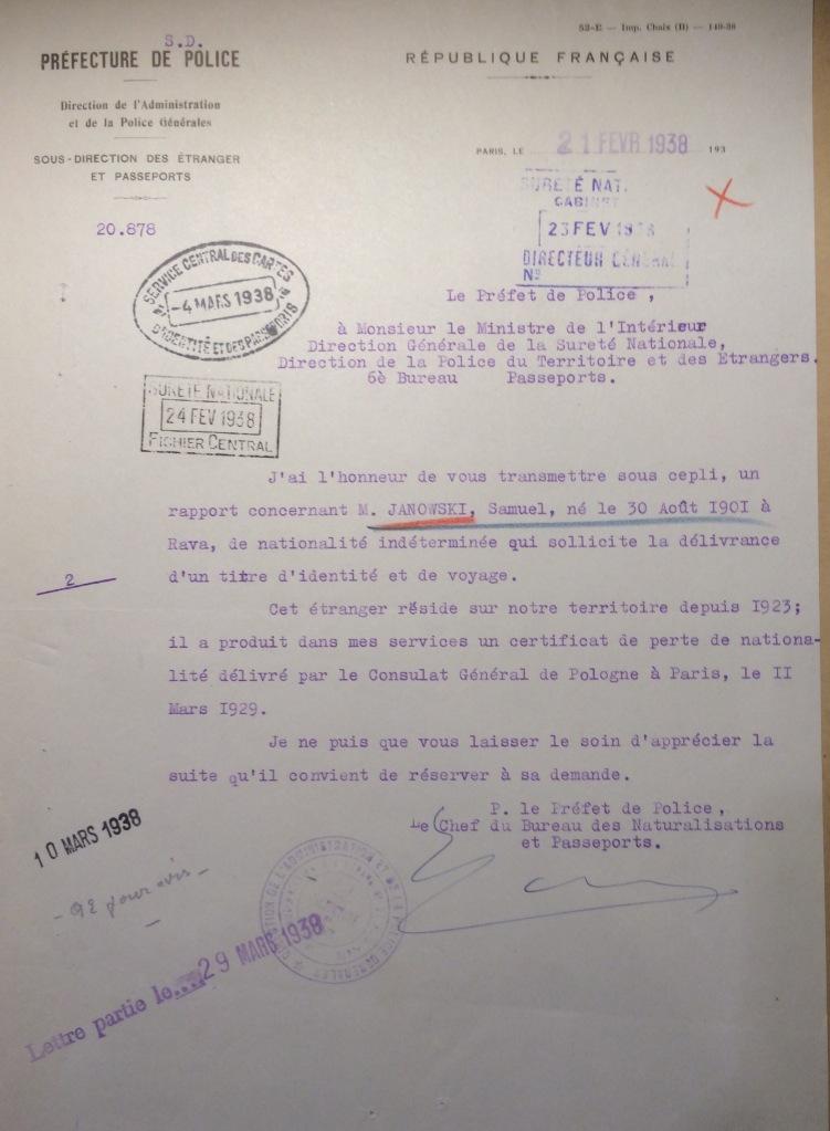 Dossier de JANOWSKI Samuel [Archives Nationales, 19940455/0040]