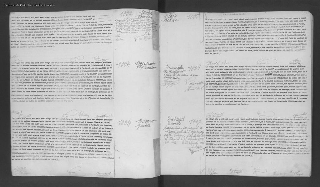 Acte de mariage d'Isaac FLORIS et de Djoya BEHAR [Archives de Paris, 11M523]