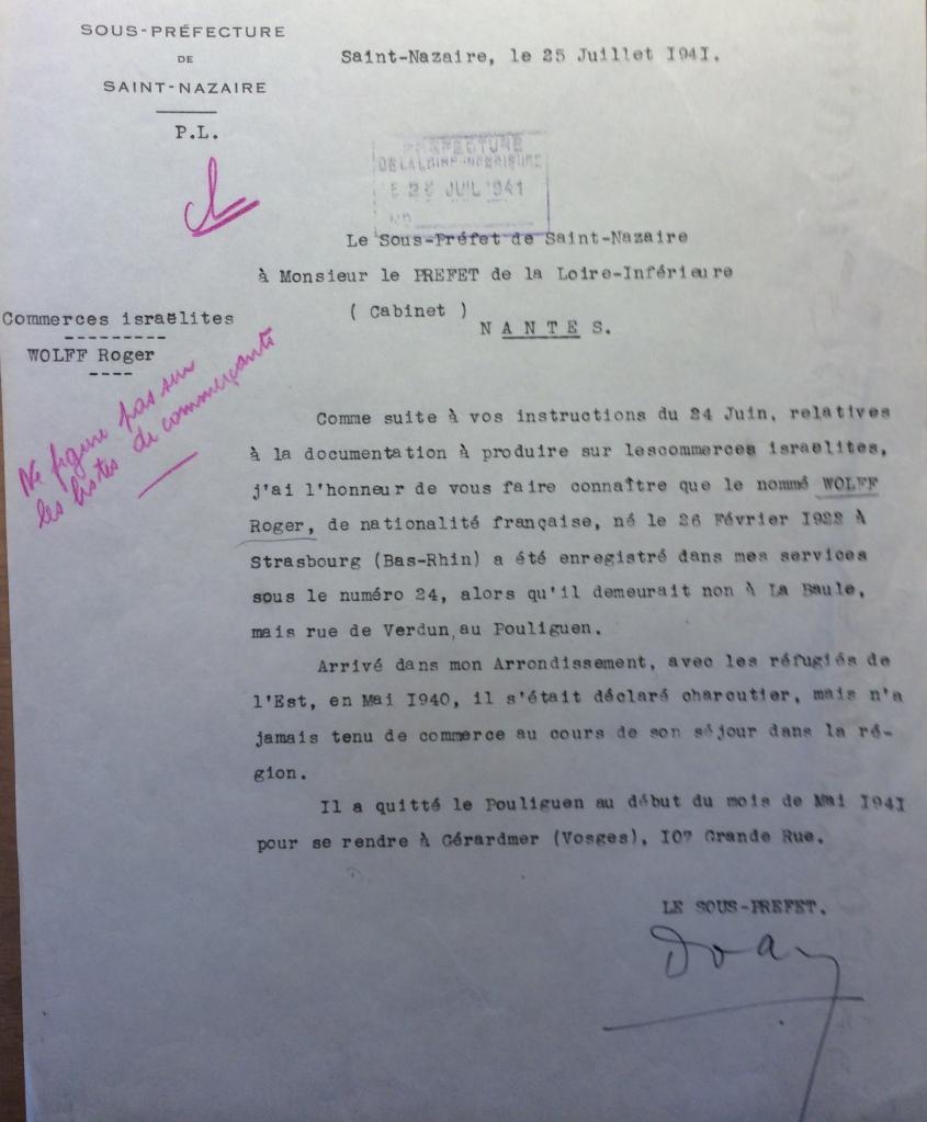 Courrier Sous-Préfet/Préfet 25 juillet 1941 [ADLA 1694W25]