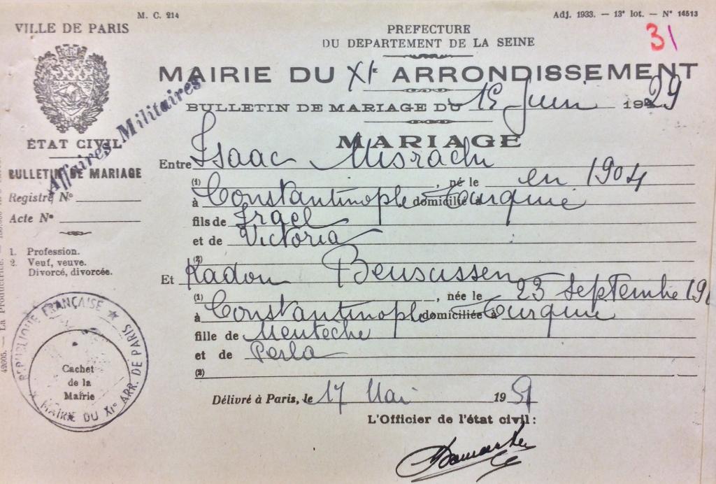 Acte de mariage de Isaac MISRACHI et Kadon BENSUSEN [DAVCC Caen, 21 P 517076]