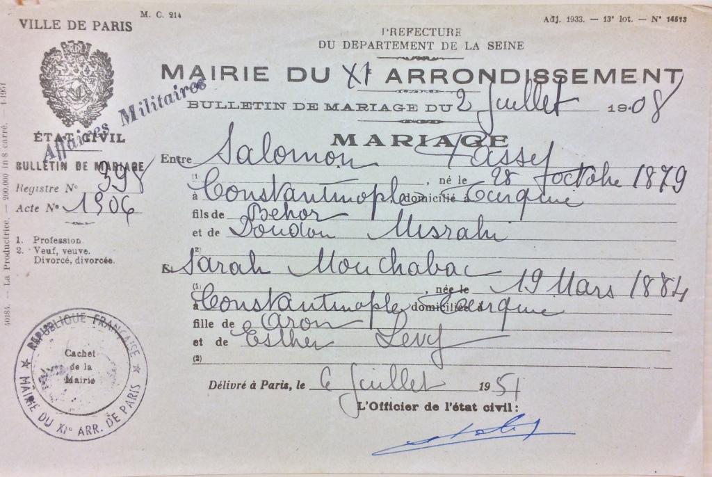 Bulletin de mariage PASSY/MOUCHABAC [DAVCC Caen, 21 P 523 225]