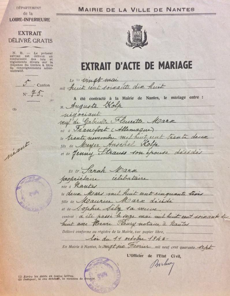 Acte de mariage KOLP/MARX [DAVCC Caen, 21 P 469 783]