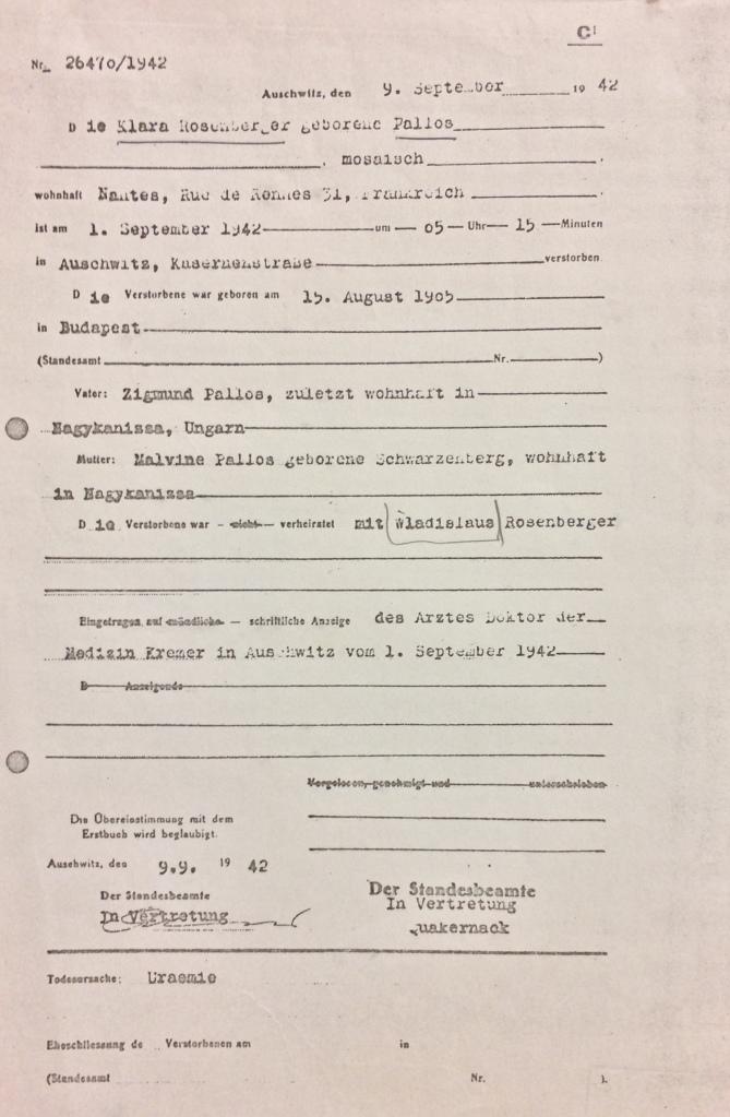 """Certificat de décès établi par le """"docteur"""" Kremer Auschwitz [DAVCC 21 P 270144]"""