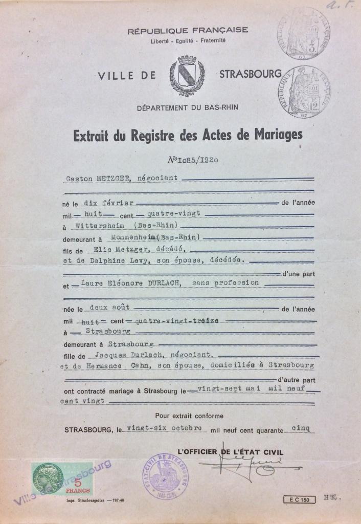 Extrait registre mariage METZGER/DURLACH [DAVCC Caen 21 P 515 847]
