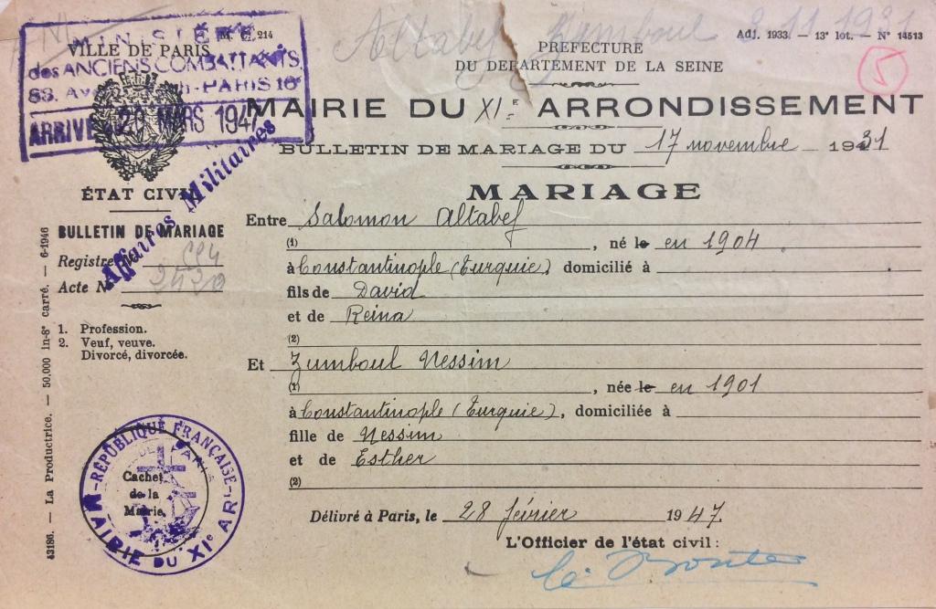 Bulletin de mariage ALTABEF/NESSIM [DAVCC Caen, 21 P 417 789]