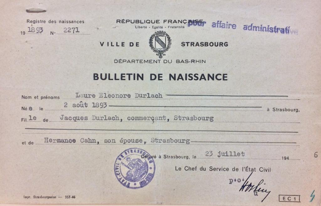 Bulletin de naissance de Laure DURLACH [DAVCC Caen 21 P 515 847]
