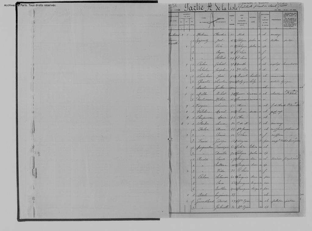 Recensement de population 1936 Porte de Saint-Denis [Archives de Paris, M8_581_0004]