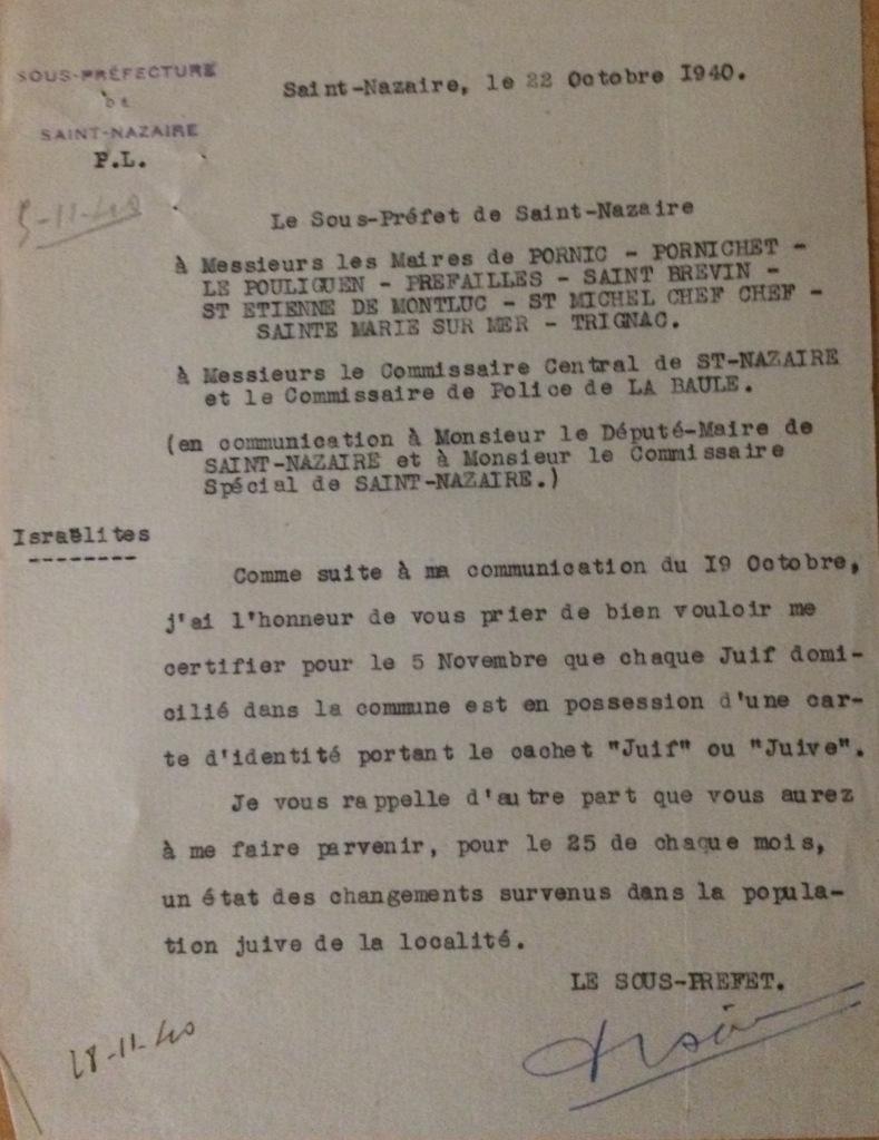 Courrier du sous-préfet aux maires des communes et commissaires  de l'arrondissement de Saint-Nazaire [Archives Municipales de Saint-Brévin, H13]