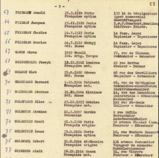 Liste convoi 3 [CDJC, Mémorial de la Shoah, Paris]