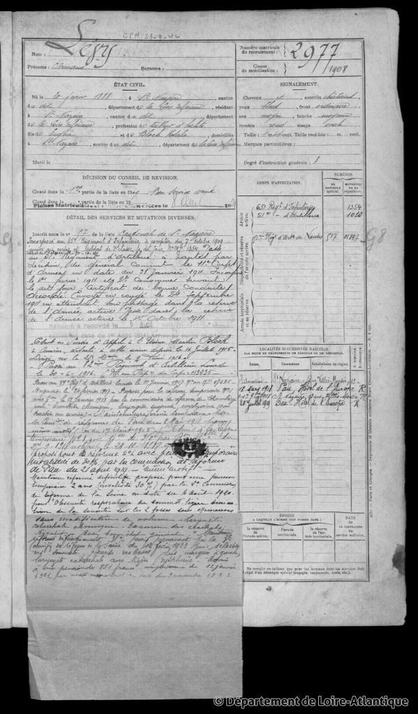 Registre Matricule Armand LEVY n° matricule 2977 [ADLA, en ligne]