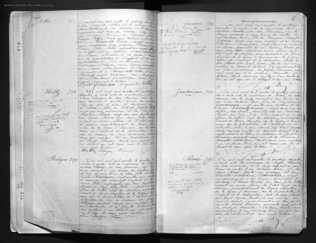 Acte Naissance Jean NETTER [Archives de Paris, 10N350]