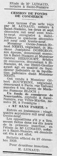 Courrier de Saint-Nazaire et Région 06 janvier 1940 [ADLA, presse en ligne]