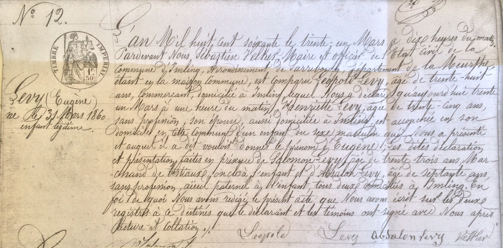 Acte de naissance d'Eugène LEVY [Archives Municipales d'Imling]