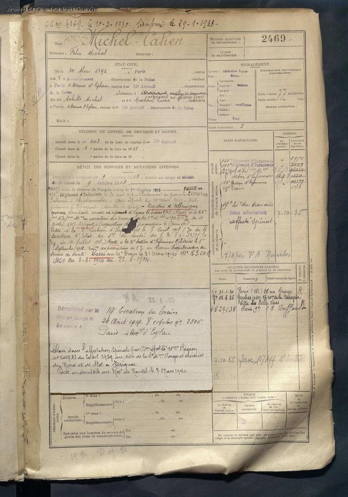Registre Matricule de Félix MICHEL-CAHEN Matricule 2469 [AD75, D4R1 1675]