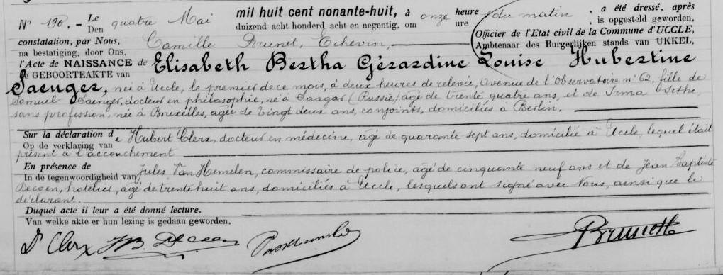 Acte de naissance d'Elisabeth SAENGER [Archives Etat civil, Belgique, en ligne]
