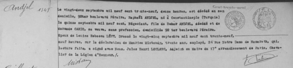 Acte de décès de Raphaël ANDJEL [Archives de Paris, 17D 261]