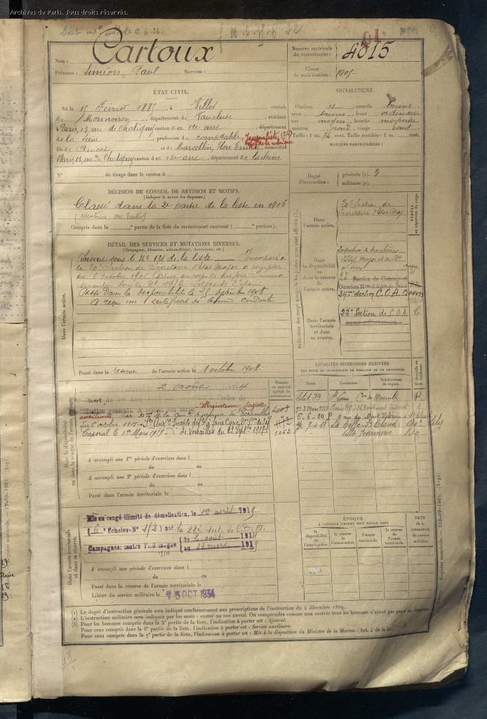 Registre Matricule de Siméon Paul CARTOUX , Matricule 4015, [Archives de Paris, D4R1 1332]