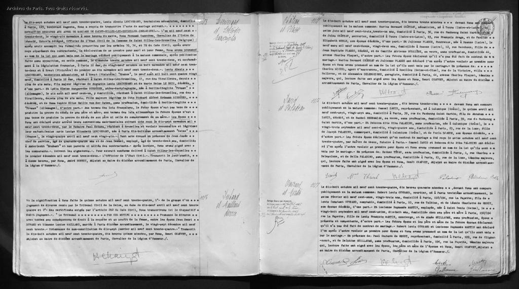 Acte de mariage Samuel DAVID-Riba PALADINO [Archives de Paris,10M428]