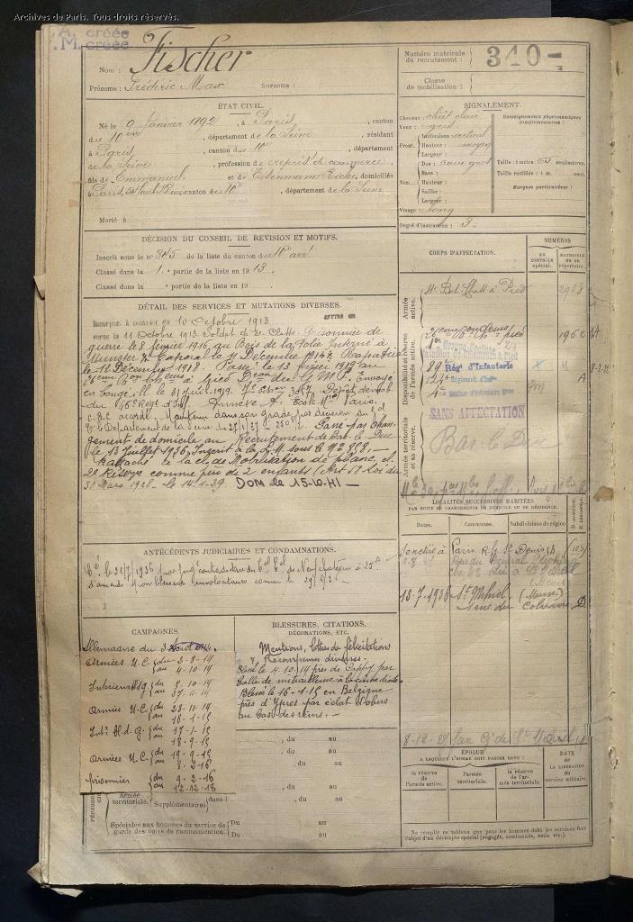 Registre Matricule recrutement Seine de Frédéric Max FISCHER Matricule 340 [AD75, D4R1 1659]