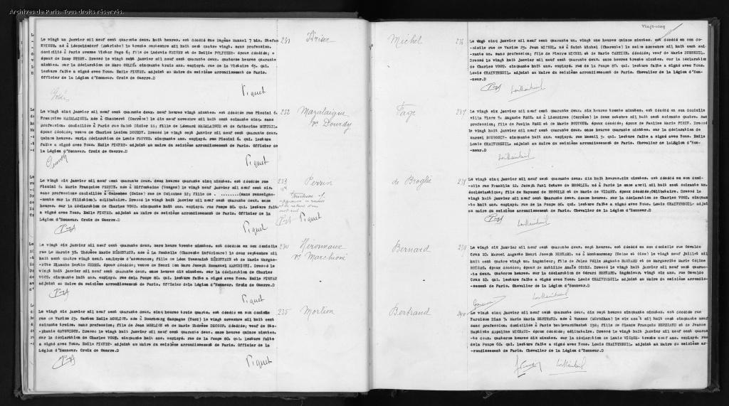 Acte de décès de Stephan KRISER [Archives de Paris, 16D165]