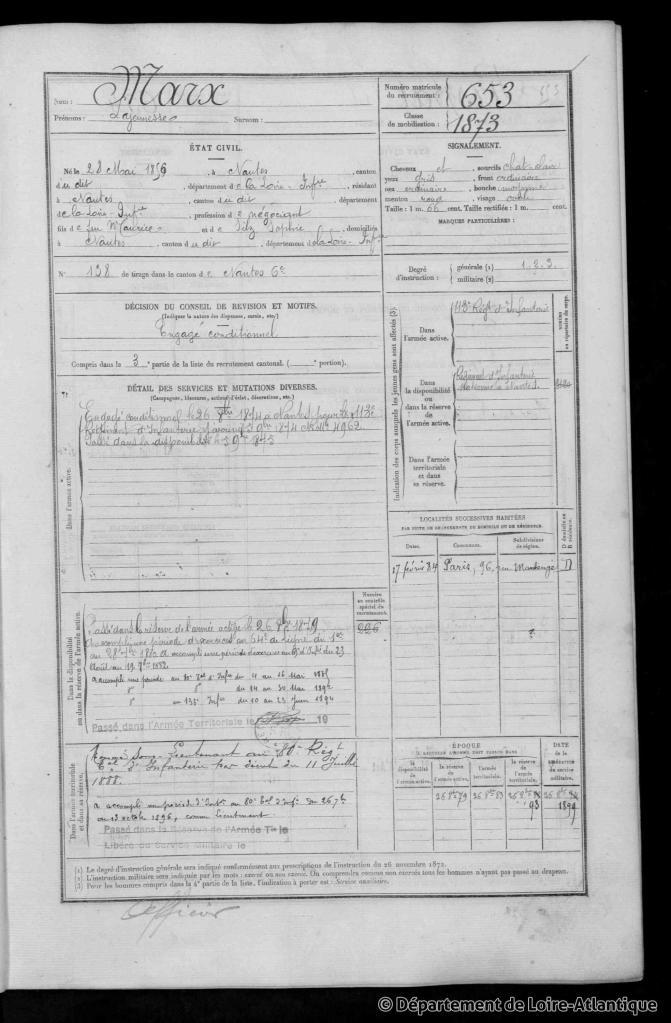 Registre Matricule de Lajeunesse MARX [ADLA, 1R0711]