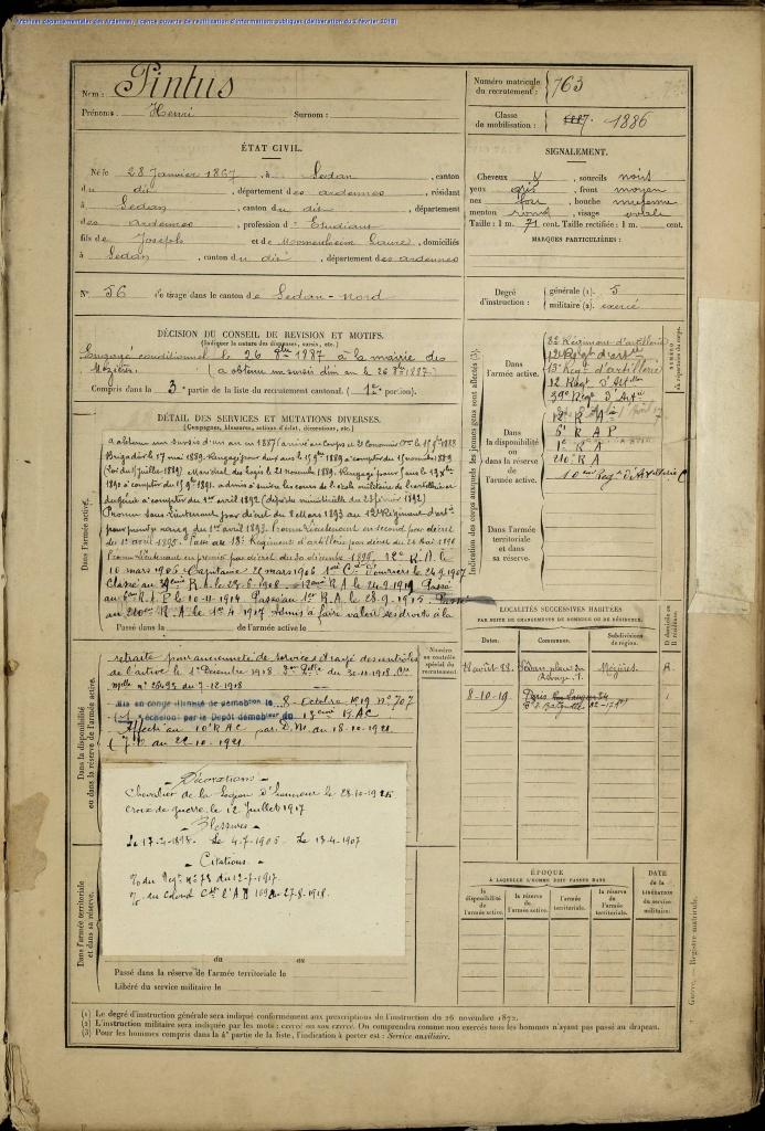 Registre Matricule Henri PINTUS [AD Ardennes, 1R073]