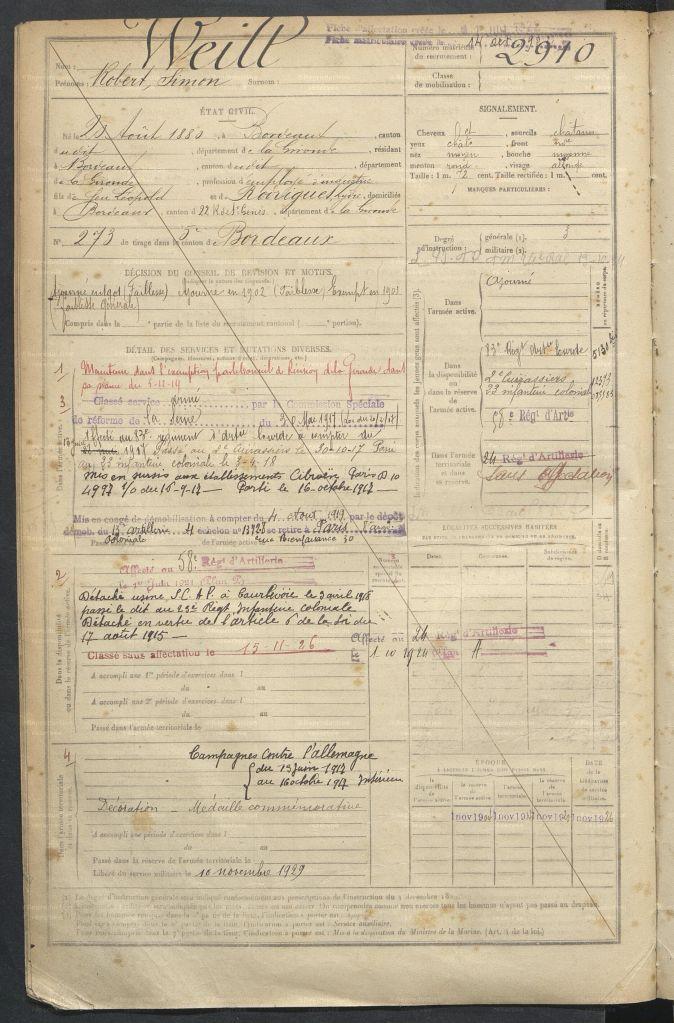 Registre Matricule de Robert WEILL [AD33, 1R1160]
