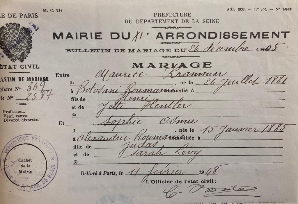 Bulletin de mariage de Maurice KRAMMER et Sophie OSMU [DAVCC 21 P 470 404]