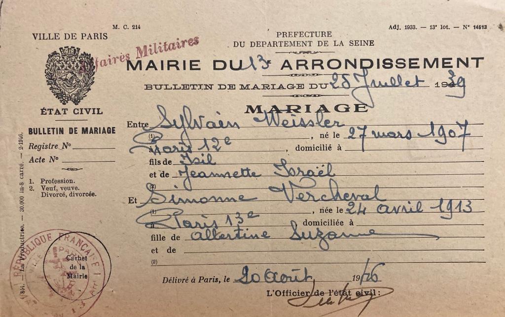 Bulletin de mariage [DAVCC 21 P 550 151]