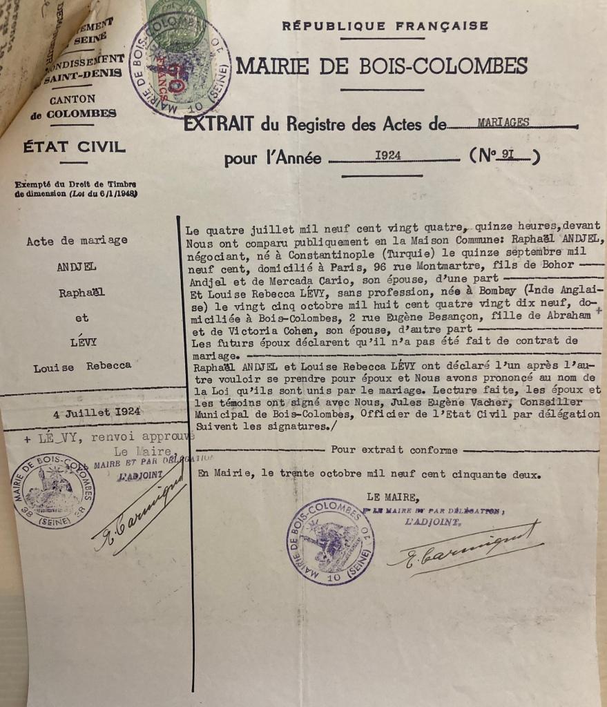 Bulletin de mariage de Raphaël et Louise LEVY [DAVCC 21 P 418 227]