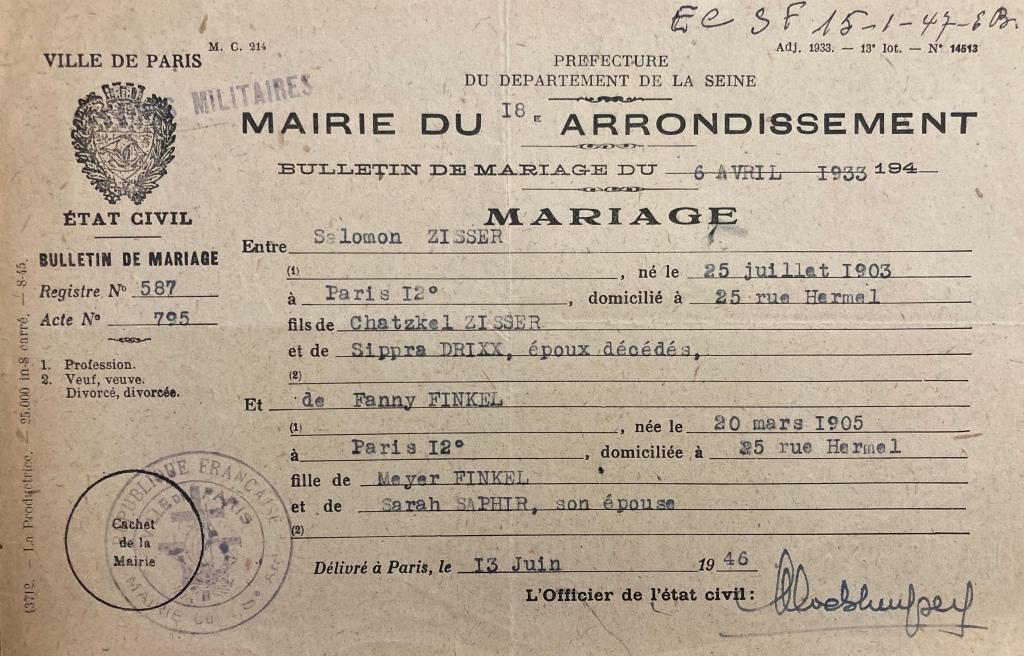 Bulletin de mariage de Salomon ZISSER et Fanny FINKEL [DAVCC 21 P 552 413]