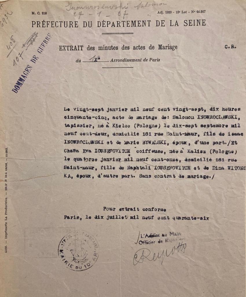 Dossier de Salomon INOWOROCLAWSKI [DAVCC 21 P 466987]