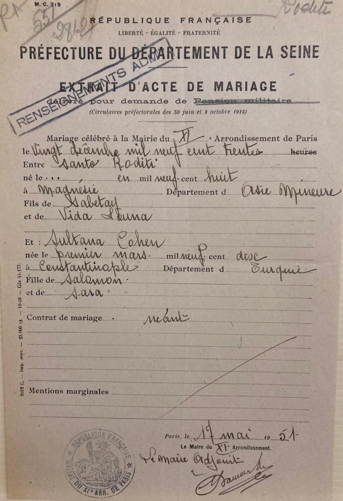 Bulletin de mariage des époux RODITI [21 P 531 871]