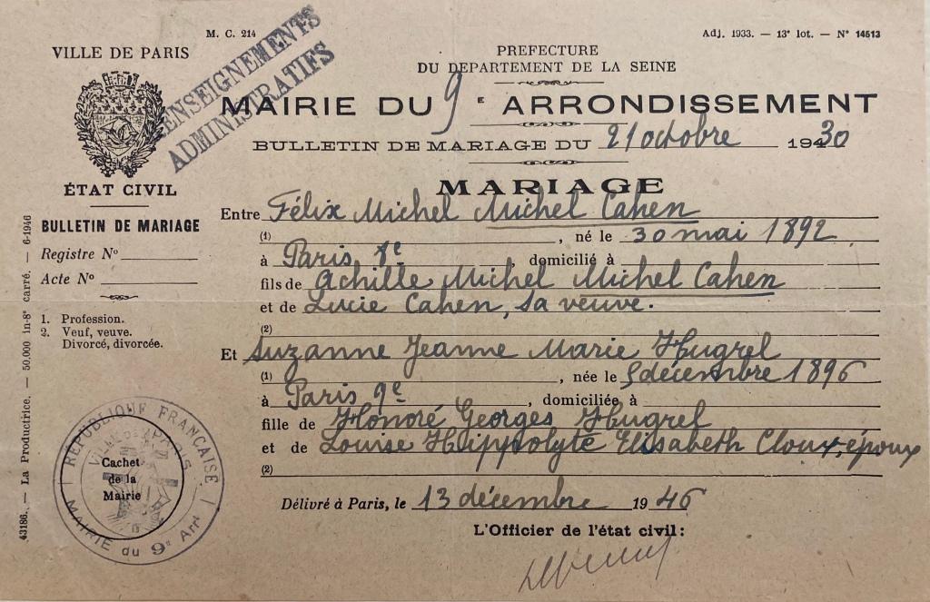 Bulletin de mariage Félix et Suzanne MICHEL-CAHEN [DAVCC 21 P 516 421]