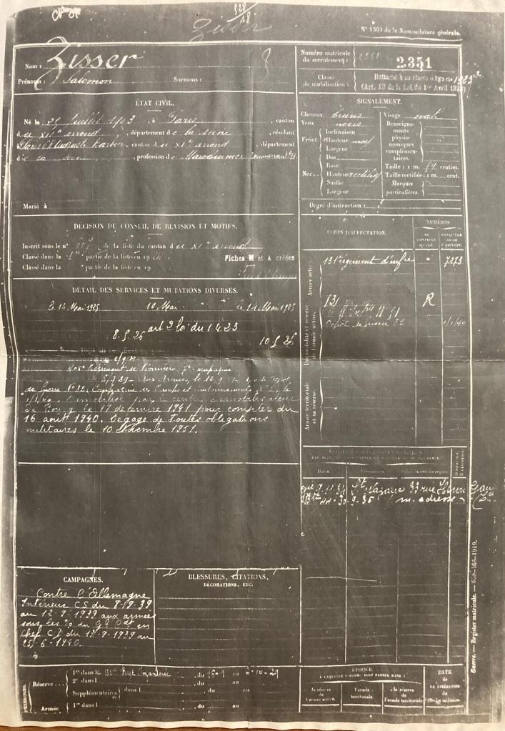 Registre Matricule de Salomon ZISSER [DAVCC 21 P 552 413]