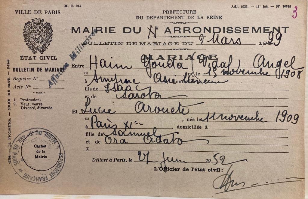 Bulletin de mariage de Vidal ANGEL et Lucie AROUETE [DAVCC 21 P 418 413]